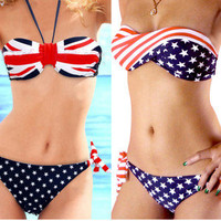 STARS and STRIPE UK Flag Strapless Padded BIKINI Swimsuit Swimsuit Bathing Suit