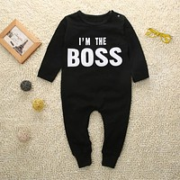 Boss baby boys girls rompers long sleeve boys spring autumn rompers clothes newborn baby rompers jumpsuit black 0-24 months