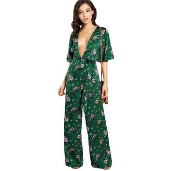 RWL Boutique -  Sexy Jumpsuits for Women Bell Sleeve Plunge Neck Self Belted Palazzo Jumpsuit Multicolor Half Sleeve Floral Jumpsuit