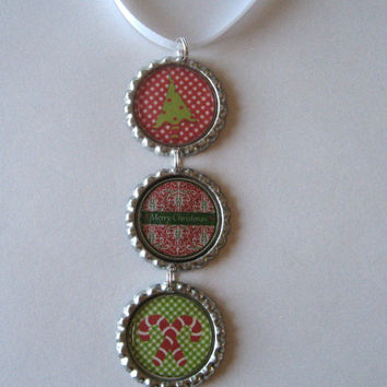 Fun Tree and Candy Cane with Merry Christmas Flattened Bottle Cap Ornament