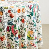 Vine Fruits Tablecloth by Anthropologie Red Motif 90 In. Round House & Home