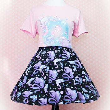 Deep Creeps (Gulper Eel, Goblin Shark, Hatchet Fish) Printed Skater Skirt Fairy Kei Pastel Goth Kawaii