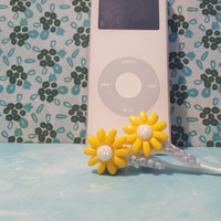 Spring yellow Daisy Flower earbuds with Swarovski crystals