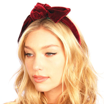 Velvet Bow Headband Headpiece Preppy Headpiece Maroon