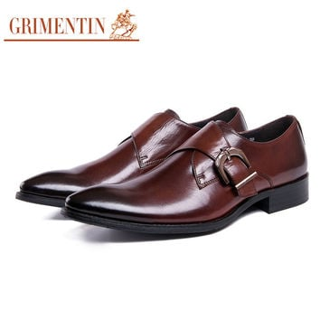 classic buckle strap mens dress shoes genuine leather comfortable black male shoes men