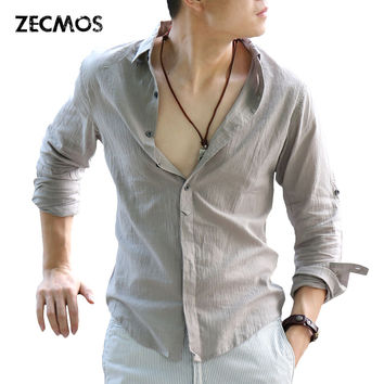 Cotton Linen Shirts Man Summer White Shirt Social Gentleman Shirts Men Ultra Thin Casual Shirt British Fashion Clothes