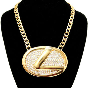 "Bling Rhinestone ""L"" LOGO Statement Necklace Gold Link Chain"