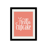 "Hello Cupcake. Cute. Adorable. Love. Simple. Minimalist. Pink and White. Typography. Gift Idea. Anniversary. Couple. 8.5x11"" Print."