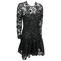 Dior 1987 Fall/Winter Campaign Black Lace and Sequin Dress