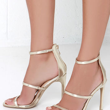 Three Love Gold Dress Sandals