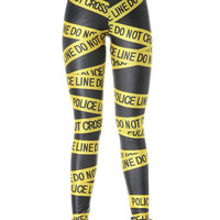 Yellow Police Line and Letters Print Spandex Leggings