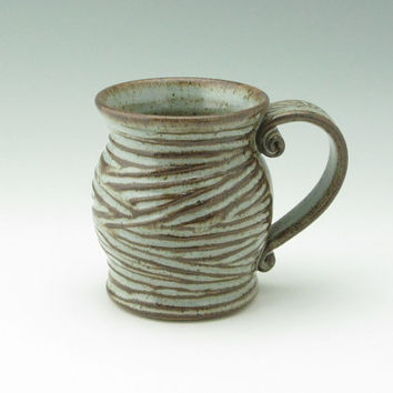 Handmade Pottery Coffee Mug, Pot Belly 16 oz Stoneware Coffee Cup, Twisted Madness Soft Blue Mug Ready to Ship