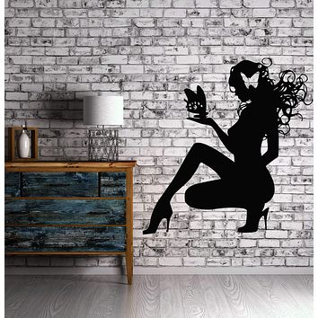 Sexy Hot Girl Butterflys Hair Spa Beauty Salon Wall Art Decor Vinyl Sticker Unique Gift z510