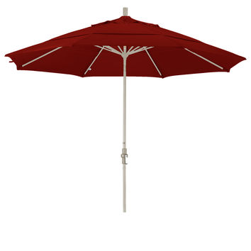 11 Foot Sunbrella 4A Fabric Aluminum Crank Lift Collar Tilt Patio Umbrella with Sand Pole