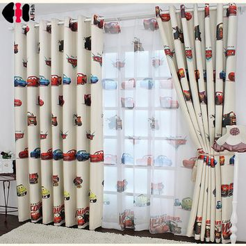 Boys Cars Curtains and tulle blackout drapes Cloth Nursery Baby Room Curtains draperie French Blinds for Kids Bay window P228B