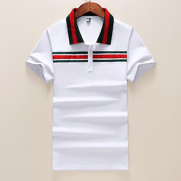 Gucci Summer Fashionable Leisure Stripe T-Shirt Top Tee White
