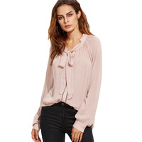 SheIn Pink Blouses Tie Neck Long Sleeve Shirt Women Fall 2016 Womens Clothes Elegant Eyelet Lace Insert Loose Blouse