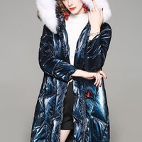 Fox Fur Hooded Down Coat