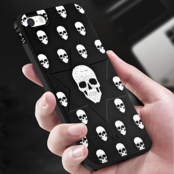 Anti Knock Soft TPU Skull Cover Case for iPhone 5 5S SE Cool 360 Degree Full Protection Shell