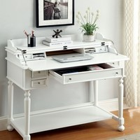 Lexden collection traditional style white finish wood secretary desk with turned legs and drawers