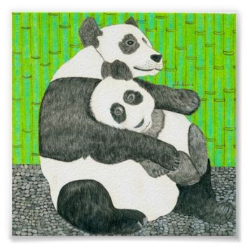 The Mom And Baby Panda By Julia Hanna Poster