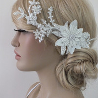 Bridal lace headpiece ivory lace Hairpiece Ivory Beaded lace floral wedding hair piece bride hair comb