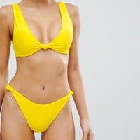 ASOS Knot Minimal High Leg Hipster Bikini Bottom at asos.com