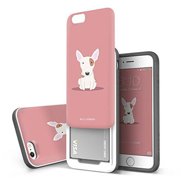 """iPhone 6s case / iPhone 6 Case (4.7""""), DESIGNSKIN SLIDER : Best Seller Sliding ID Credit Card Slot (2 cards) 3-Layer PC TPU Bumper Protection Vivid Color Soft and Hard Cover Case (Bull Terrier)"""