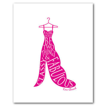 Fashion Typography Wall Art - A girl should be two things classy & fabulous Coco Chanel quote Word Art Radiant Orchid Print Teen Tween Art