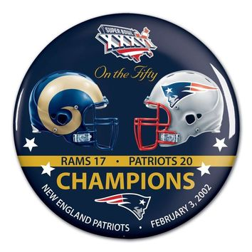 NEW ENGLAND PATRIOTS ST. LOUIS RAMS SUPER BOWL XXXVI CHAMPS ON THE FIFTY BUTTON
