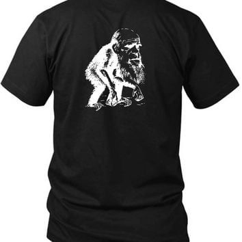 Funny Political Monkey Biology Atheist Science 2 Sided Black Mens T Shirt