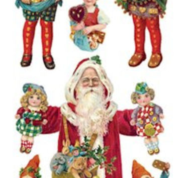 Victorian Christmas Ginger Santa Stickers