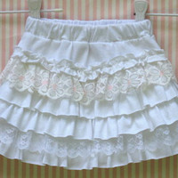 Child's Ring of Ruffles Upcycled T Shirt Skirt Size 2 White with Lace