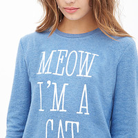 FOREVER 21 Cat Graphic Fleece Pullover Blue/Taupe