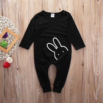 2016 Baby Girl Clothes Autumn Newborn Baby Girl Boy Cotton Long Sleeve Rabbit  Printed Romper Jumpsuit Baby Romper Baby Clothes