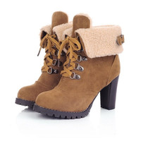Fashion Women Ankle Boots High Heels Lace Up Platform Snow Boots