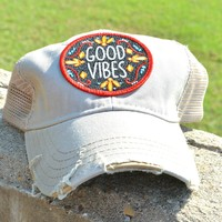 Judith March Good Vibes Hat - Gray