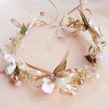Bridal Wedding Party jewelry Gold Color Butterfly Floral Pearl Headbands Flower Head Piece Bride Vintage Hair bands