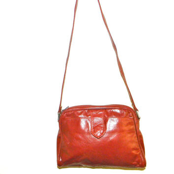 Vintage Enny leather Handbag, rust, pumpkin color