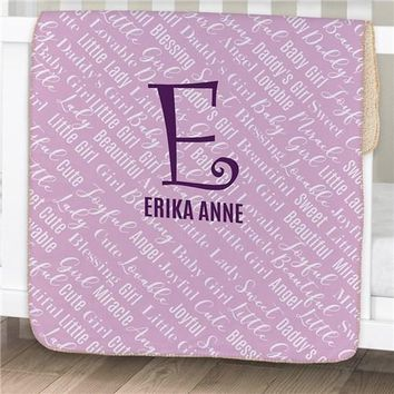 Personalized Baby Name Sherpa Baby Blanket ~ Purple