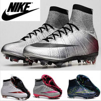 2016 New Children High Top soccer cleats Womens Girls cR7 SuPERfly FG Mens High ANkle Kids Boys football boots 35-45 Original