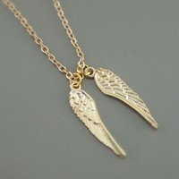 Gold Necklace - Angel Wing Necklace - Charm Necklace - handmade jewelry