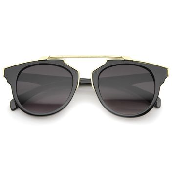 Modern High Fashion Metal Brow Bar Pantos Aviator Sunglasses 50mm