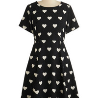 Kling Mid-length Short Sleeves A-line Heart Candy Dress