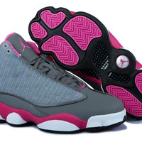 Hot Air Jordans 13 Women Shoes Suede Pink Gray