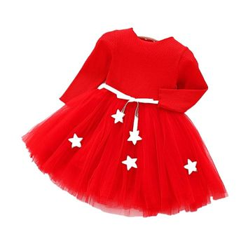 Christmas New Year Costumes For Girl Five-pointed Star Kids Clothes long-sleeved Girl Newborn Baby Clothing Dress Vestidos