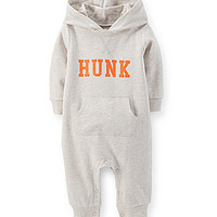 Carter's Newborn-24 Months Hunk Hooded Coverall - Heather Grey