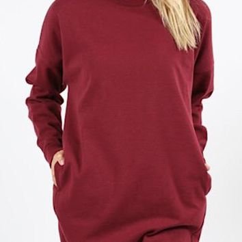 Warm Thoughts Tunic Dress | Burgundy
