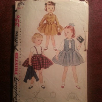 Complete 1950's Simplicity Sewing Pattern, 3992! Size 6 Girls/Kids/Child/Weskit/Bolero Jacket/Full Flared Skirt/Suspenders/Summer/Spring
