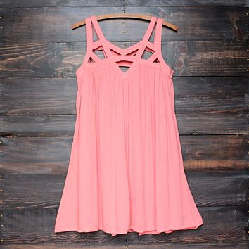 final sale - cage flowy dress in coral